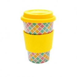 Rice Husk Ware Cafe Mug (New Series) - Mosaic + Yellow