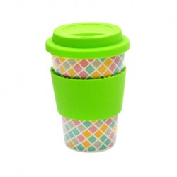 Rice Husk Ware Cafe Mug (New Series) - Mosaic + Green