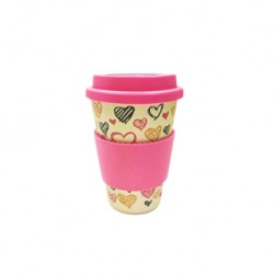 Rice Husk Ware Cafe Mug (New Series) - Heart + Pink