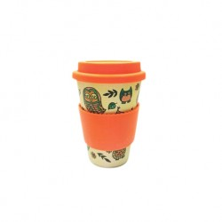 Rice Husk Ware Cafe Mug (New Series) - Owl + Orange
