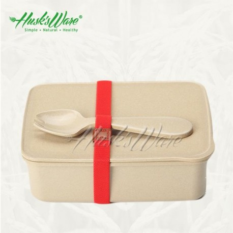 Rice Husk Lunch Box (L) + Spork + Ribbon