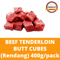 Halal Commissary Beef Tenderloin Cubes (Rendang) 400g/pack (Sold per Pack)