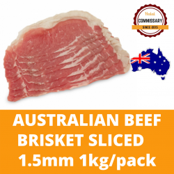 Halal Commissary Beef Brisket 1.5mm 1kg/pack (Sold per Pack)