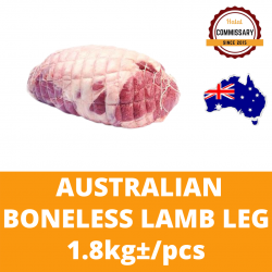 Halal Commissary Frozen Australian Whole Boneless Lamb Leg 1.8kg+/- per Piece (Sold per Piece)