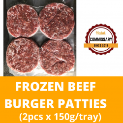 Halal Commissary Frozen Beef Burger Patties (2pcs x 150g/tray)