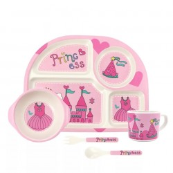Children Bamboo Fiber Dinnerware Set with Bowl Fork Cup Spoon Plate 5pcs (Castle in Pink)