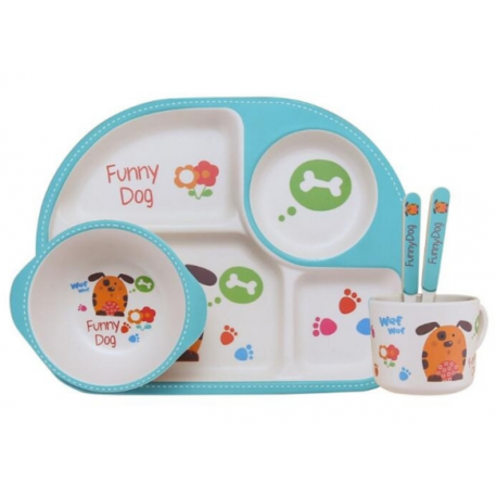 Children Bamboo Fiber Dinnerware Set with Bowl Fork Cup Spoon Plate 5pcs (Dog)