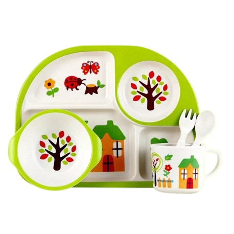 Children Bamboo Fiber Dinnerware Set with Bowl Fork Cup Spoon Plate 5pcs (Green House)