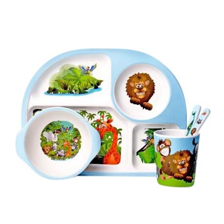 Children Bamboo Fiber Dinnerware Set with Bowl Fork Cup Spoon Plate 5pcs (Lion King)