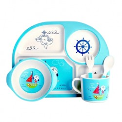 Children Bamboo Fiber Dinnerware Set with Bowl Fork Cup Spoon Plate 5pcs (Pirate Ship)