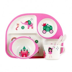 Children Bamboo Fiber Dinnerware Set with Bowl Fork Cup Spoon Plate 5pcs (Princess)