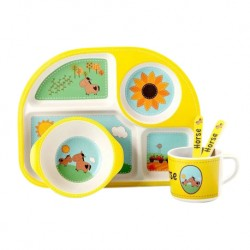 Children Bamboo Fiber Dinnerware Set with Bowl Fork Cup Spoon Plate 5pcs (Sunshine & Horse)