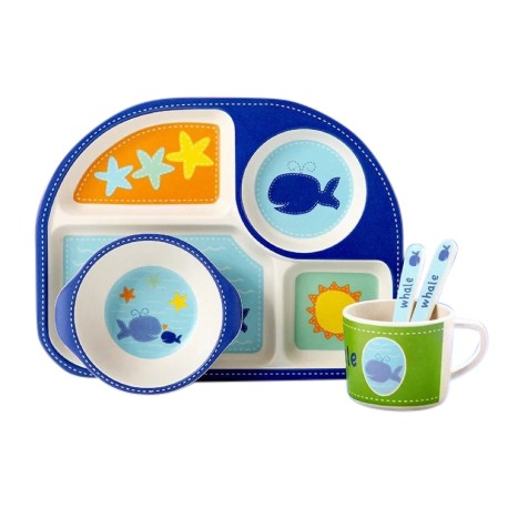 Children Bamboo Fiber Dinnerware Set with Bowl Fork Cup Spoon Plate 5pcs (Whale in Blue)