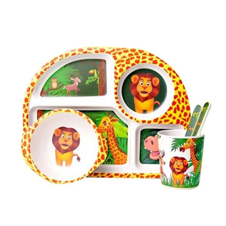 Children Bamboo Fiber Dinnerware Set with Bowl Fork Cup Spoon Plate 5pcs (Zoo Animal)
