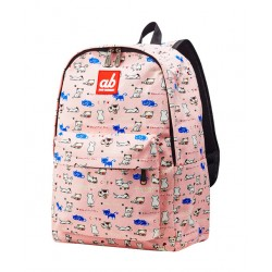 ab New Zealand Kitty On Pink Kids Canvas Backpack