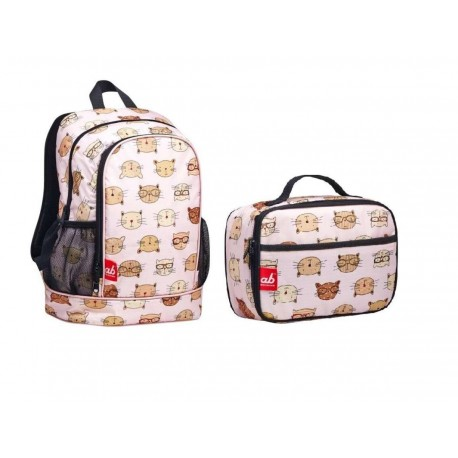ab New Zealand Toddler Backpack & Lunch Bag Value Combo Set (Brainy Cat)
