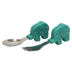 Marcus & Marcus Palm Grasp Spoon & Fork Set (Green Ollie)