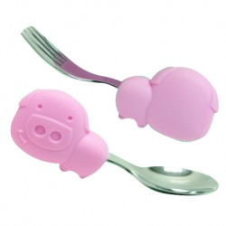 Marcus & Marcus Palm Grasp Spoon & Fork Set (Pink Pokey)