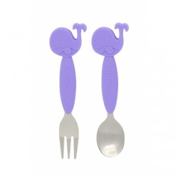 Marcus & Marcus Toddler Spoon & Fork Set (Purple Willo)