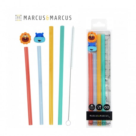 Marcus & Marcus Convenient Reusable Straw Family Set (4 Straws, 2 Straw Markers & 1 Brush)