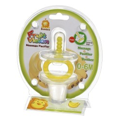 Simba Fruit Vision Massage Pacifier Double Flat Shape (0-6 Months) Yellow