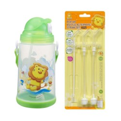 Simba Pop-up Water Bottle (650ml) c/w Replacement Straw Set - Green