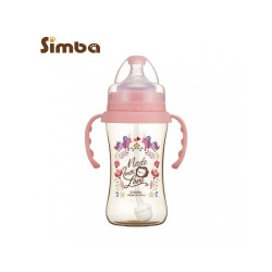 Simba Dorothy Wonderland PPSU Bottle[Handle+Auto Straw]-Wide Neck 270ml-Pink