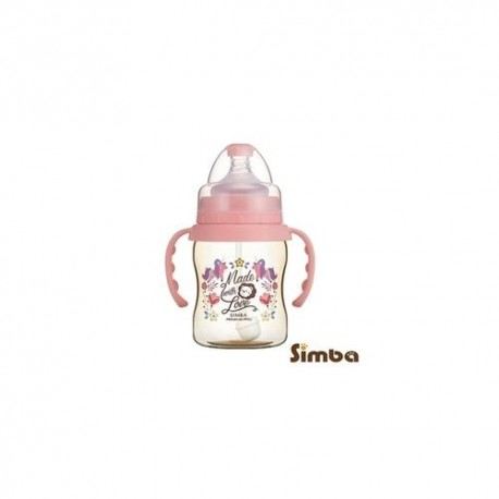Simba Dorothy Wonderland PPSU Bottle[Handle+Auto Straw]-Wide Neck 200ml-Pink