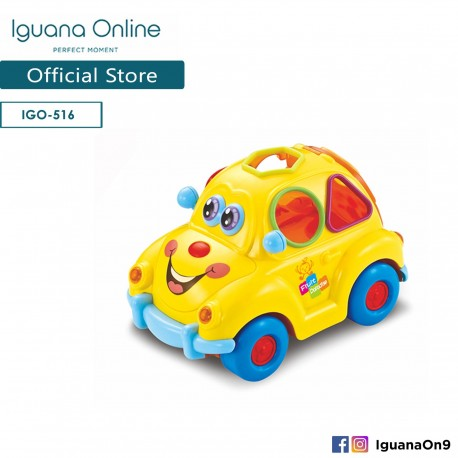 'Iguana Online Early Education Electric Baby Toy Bump and Go Fruit Car with Music Light Block for Children Kids Boys and Girls'