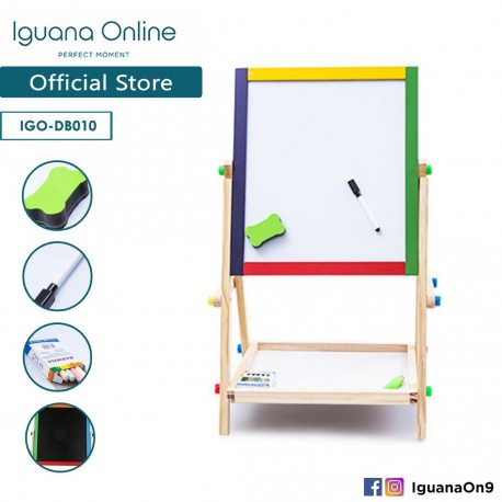 Iguana Online Wooden 2 in 1 Foldable Magnetic Writing Painting Drawing Black Board Stand DB010