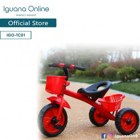Iguana Online Kids Tricycle with Front and Rear Baskets (Red) (FULLY ASSEMBLED)