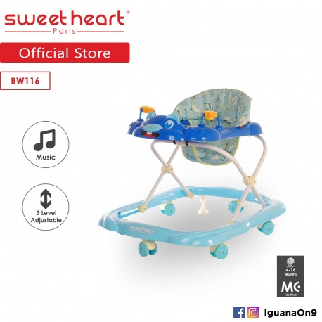 Sweet Heart Paris Baby Walker BW116 (Blue) With Music and Height Adjustable\''