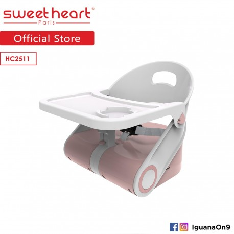 Sweet Heart Paris Portable Foldable Travel Feeding Dining Booster High Chair HC2511 with Food Tray (Pink)