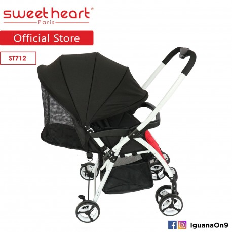 Sweet Heart Paris ST712 Lightweight Stroller (Black Red) with Reversible Handlebar'