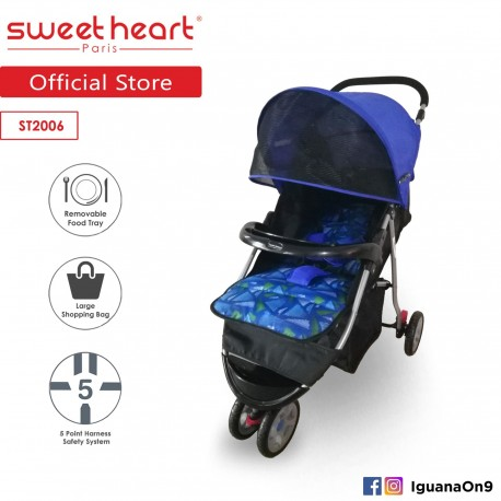 Sweet Heart Paris Stroller ST2006 (Blue) with Large Shopping Basket'
