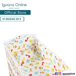 Iguana Online 100% Cotton Baby Soft Crib Bedding Set Sheet Head Neck Body Support Pillow For WCT138 and WCT118 (Cartoon Party)