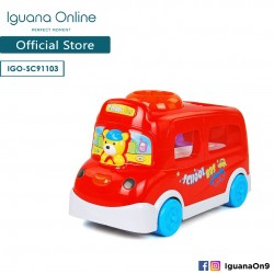 'Iguana Online School Bus Cartoon Animal Doll Baby Educational Toys with Music (Red)'