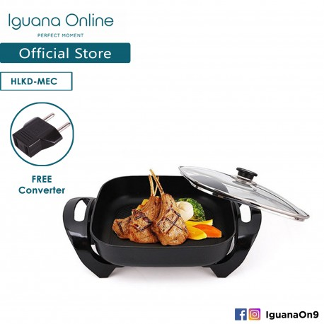 'Iguana Online Korean Style Non Stick Electric Multi-function Steamboat Cooker BBQ Steamboat Pan Grill'