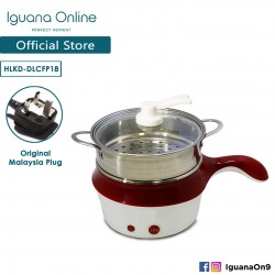 Iguana Online 18CM Mini Multifunction Stainless Steel Electric Cooker Steamer Pot Frying Pan - RED