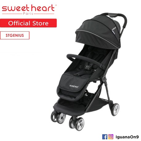 OOS Sweet Heart Paris St Genius Compact Fold Stroller with Aluminum Frame (Black)