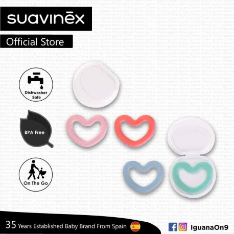 Suavinex BPA Free Newborn 0+ Love Silicone Teether with Case (Assorted Color)