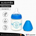 Suavinex Meaningful Life Collection BPA Free 120ml Glass Wide Neck Baby Feeding Bottle with Round Te (Blue)