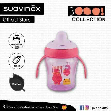 Suavinex Boo Collection BPA Free Non Spill Learning Cup with Handles and Spout (Pink)