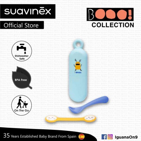 Suavinex Boo Collection BPA Free Travel Easy Outdoor Portable Cutlery Spoon Set Bib Clip With Case (Blue)