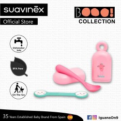 Suavinex Boo Collection BPA Free Travel Easy Outdoor Portable Cutlery Spoon Set Bib Clip With Case (Pink)