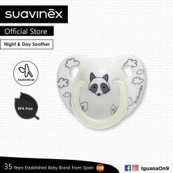 Suavinex BPA Free 0 - 6 Months Night  and  Day Anatomical Soother Pacifier (White Racoon)