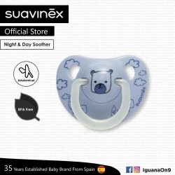 Suavinex BPA Free 0 - 6 Months Night  and  Day Anatomical Soother Pacifier (Blue Bear)