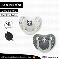 Suavinex BPA Free 6 - 18 Months Night  and  Day Anatomical Soother Pacifier (White Racoon and Grey Racoon)