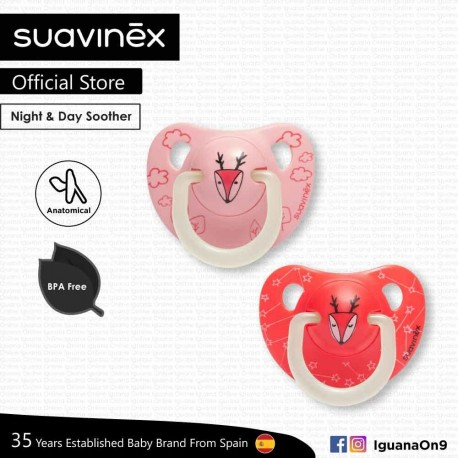 Suavinex BPA Free 6 - 18 Months Night  and  Day Anatomical Soother Pacifier (Pink Deer and Red Deer)