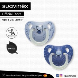 Suavinex BPA Free 6 - 18 Months Night  and  Day Anatomical Soother Pacifier (Sky Blue Bear and Blue Bear)